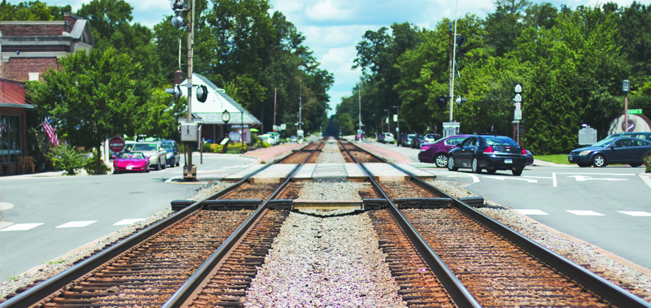 train tracks in a small town